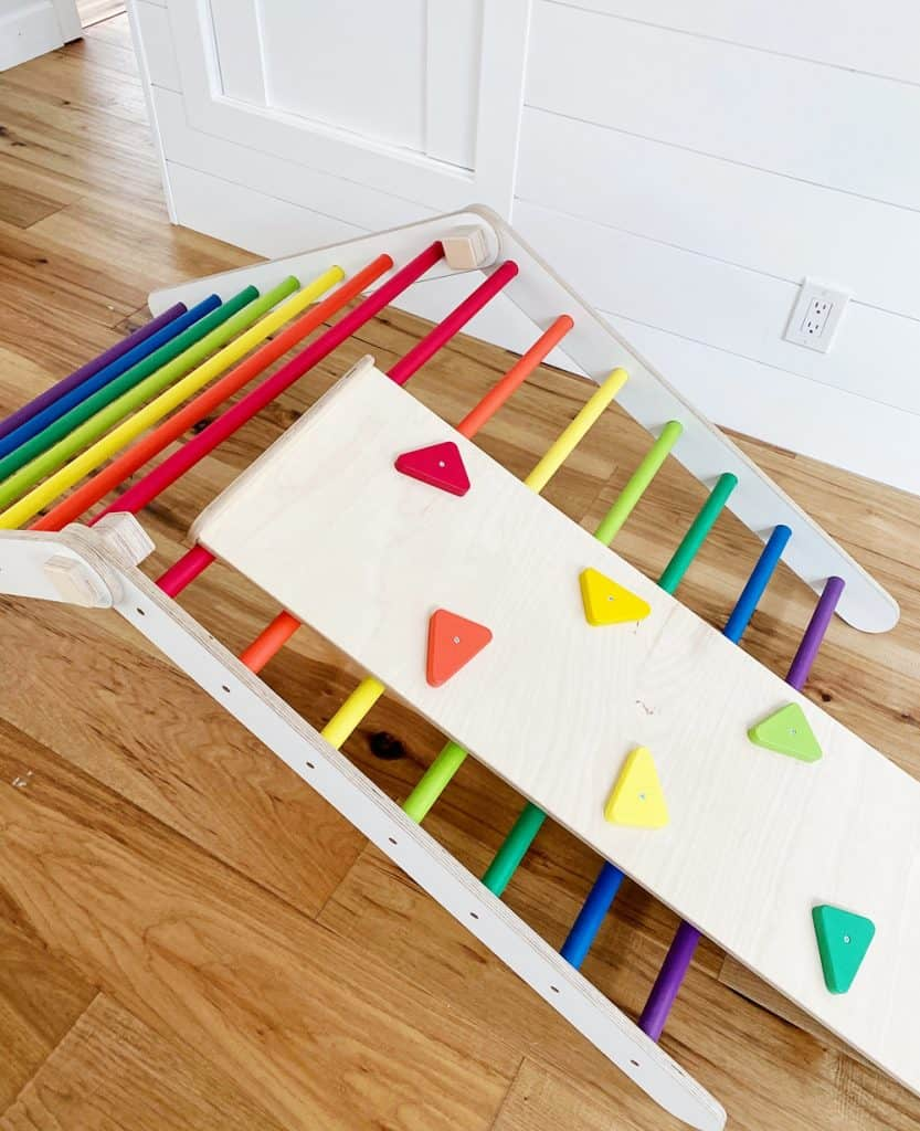 Rainbow Pikler Triangle. Gross motor skills for toddlers and preschoolers.
