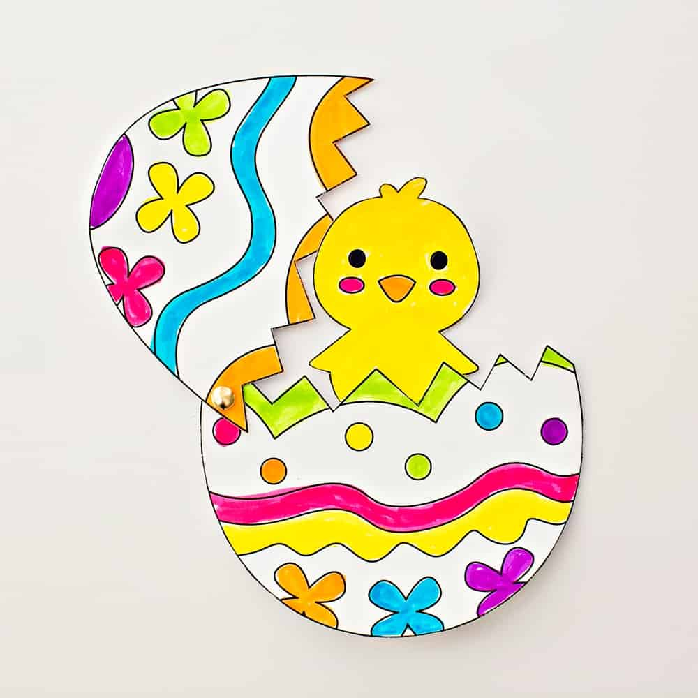 Craft: HATCHING CHICK CRAFT WITH COLORING TEMPLATE