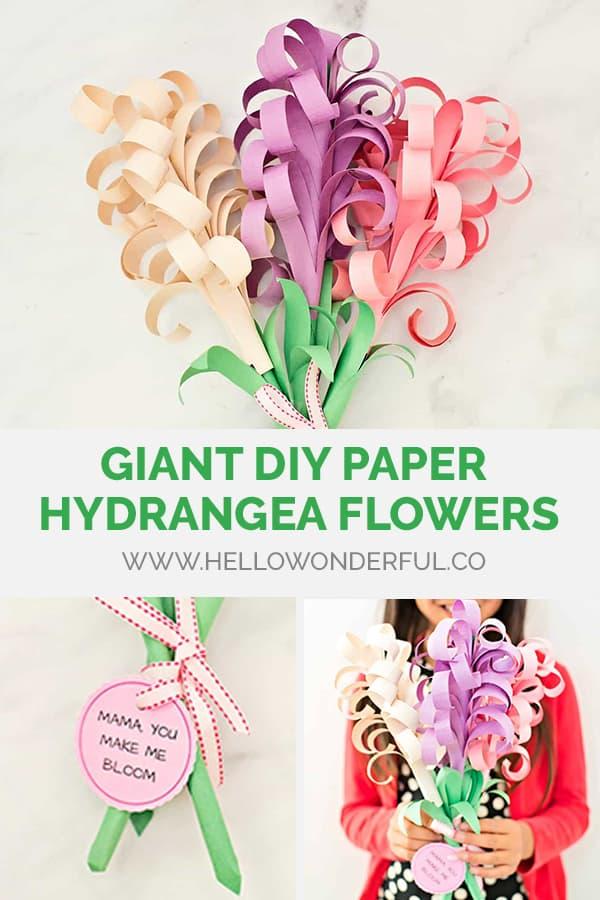 Giant DIY Paper Hydrangea Flowers