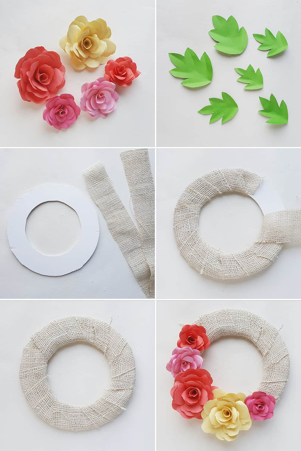 Make a lovely DIY paper rose wreath - perfect for Mother's Day or spring decor!