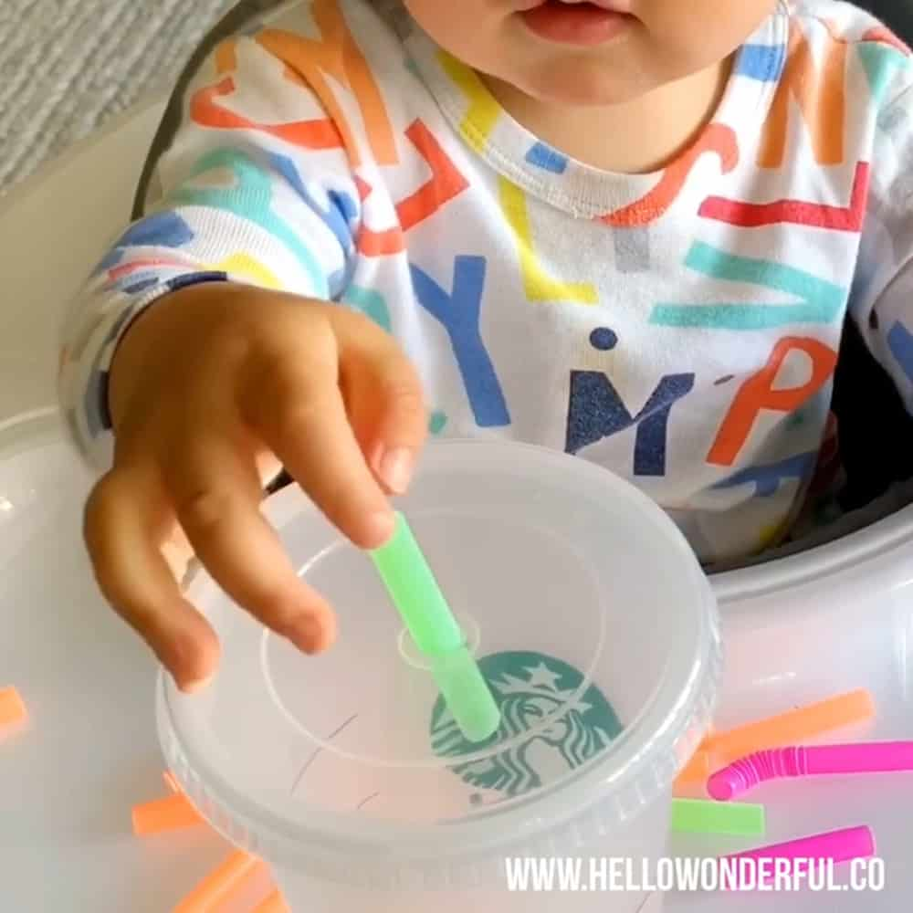Straw and cup fine motor skills activity