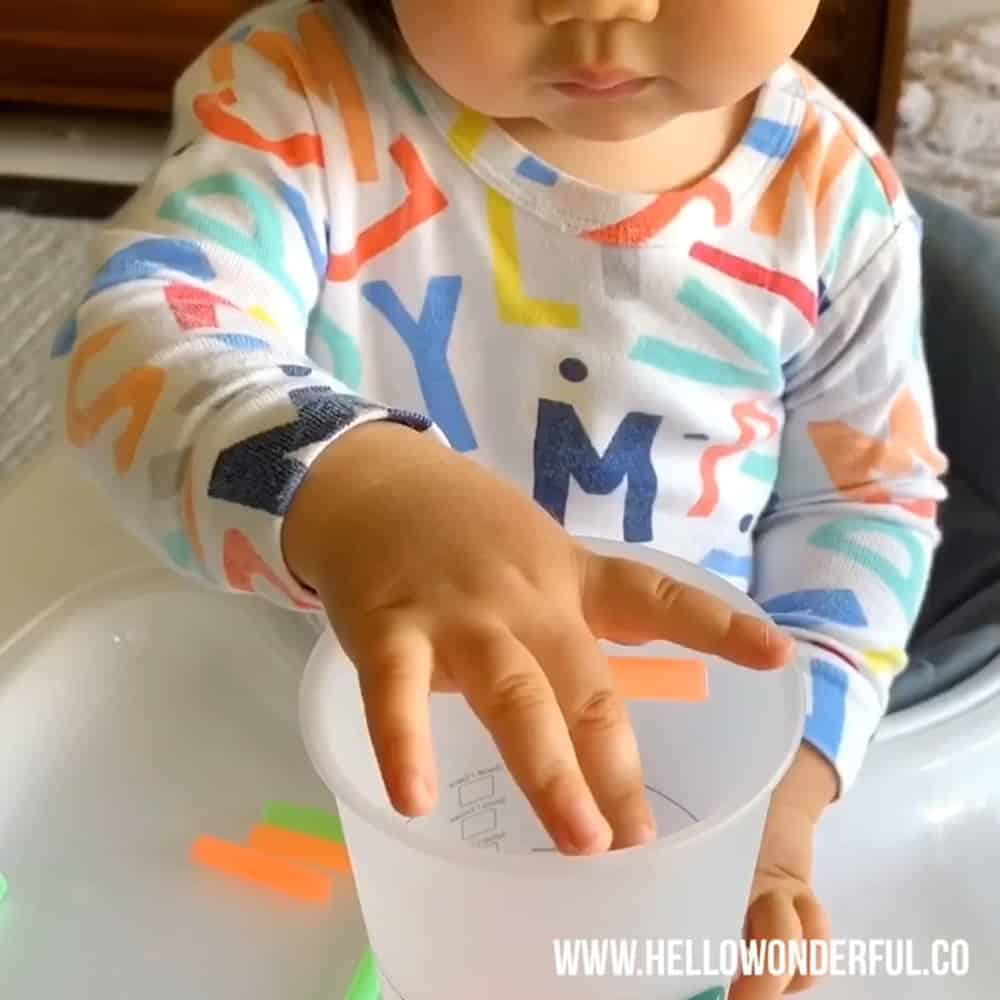 Cup and Straw Fine Motor Skills Activity For Babies And Toddlers