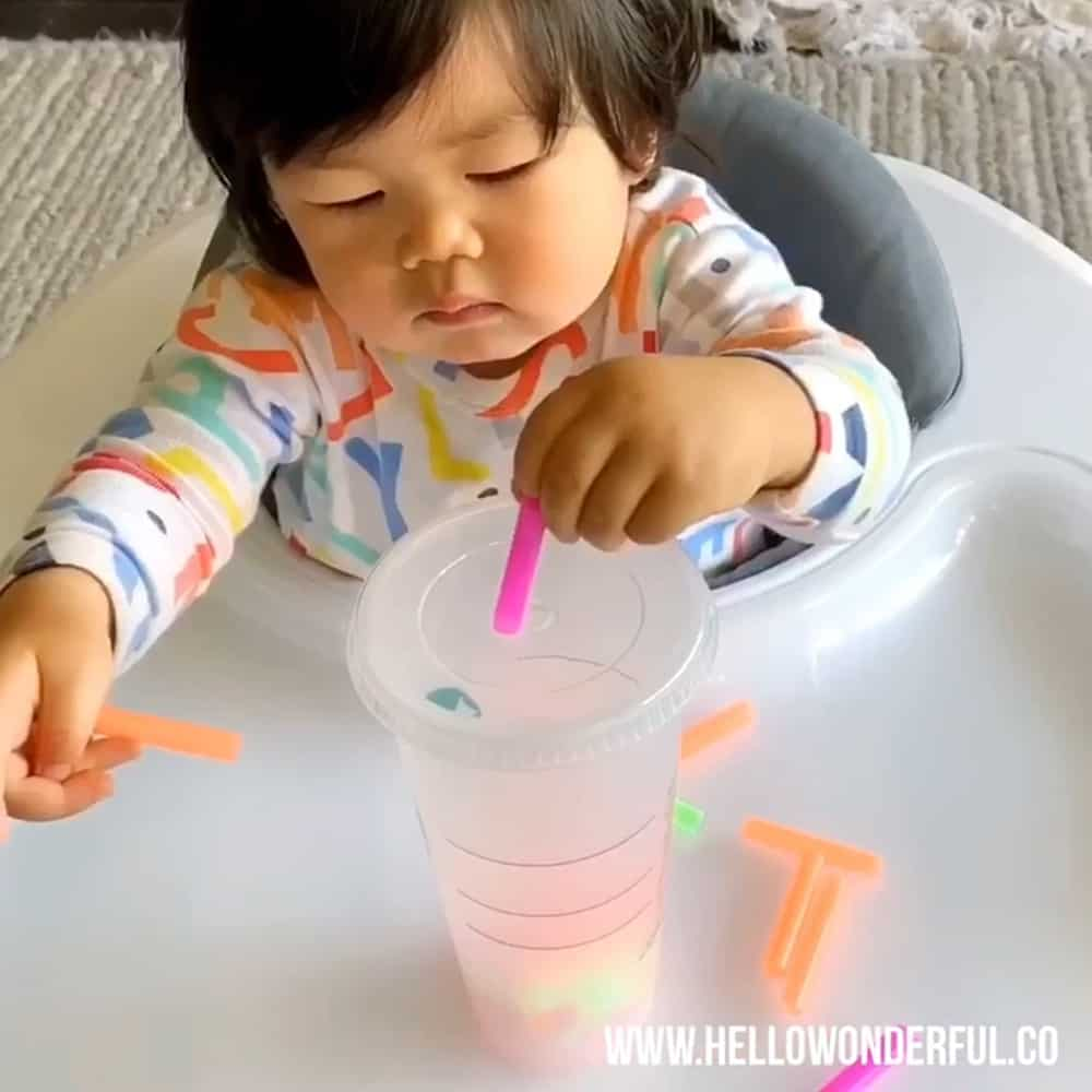 Cup and Straw Fine Motor Skills Babies Toddlers