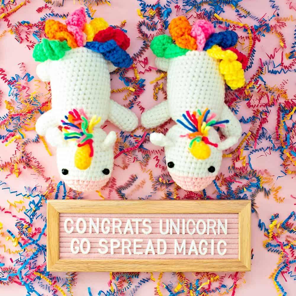 Crochet unicorn graduation gift