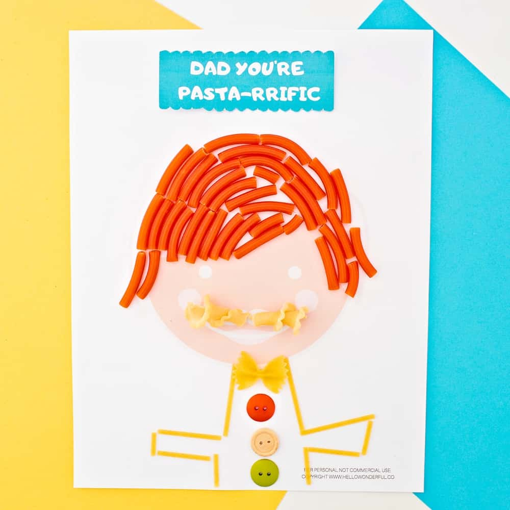 Father's Day Pasta Portrait Art With Printable Template. Crafty Handmade Father's Day Card or Gift From Kids.