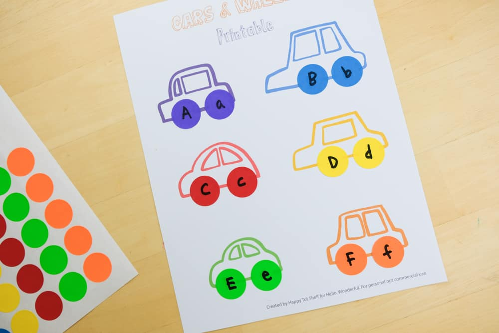 A cars and wheels learning printable activity - with free template and video!