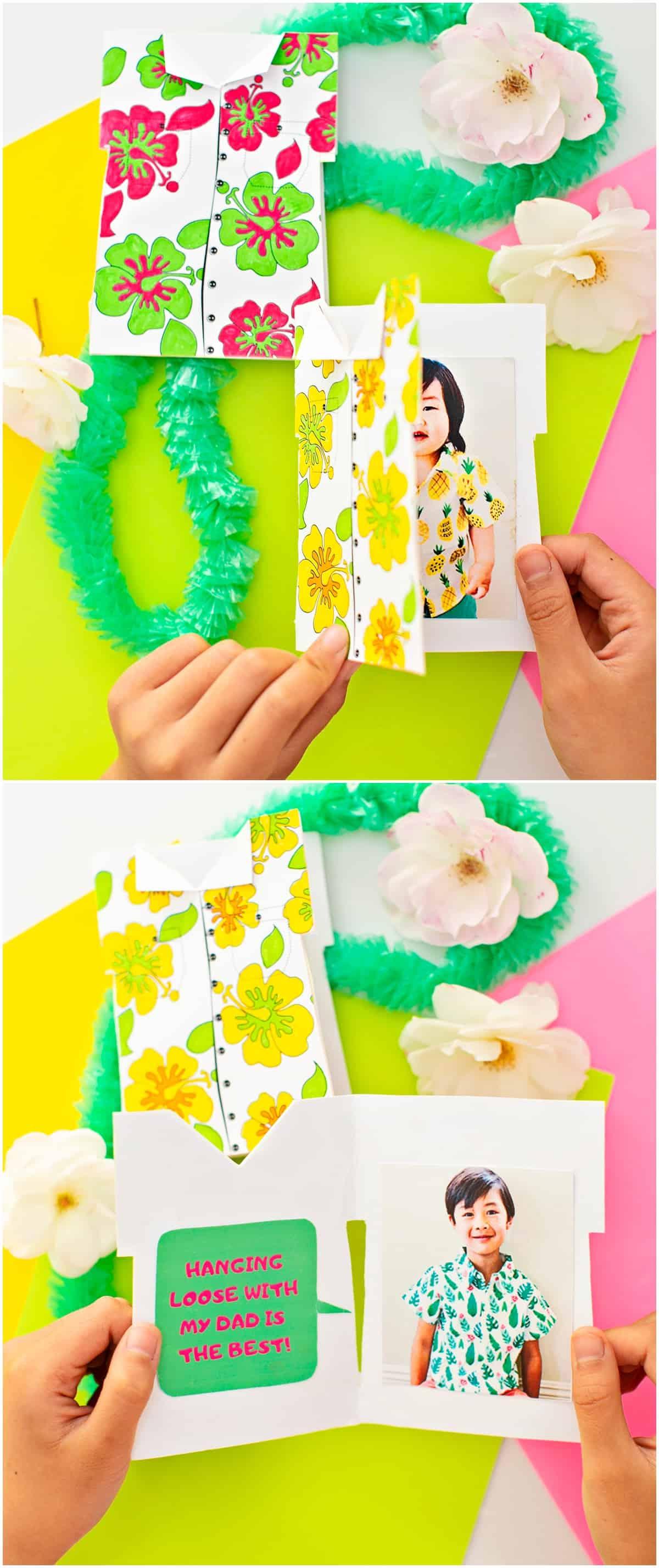 Handmade Hawaiian Shirt Father's Day Card Printable With Photo Kids Can Make.