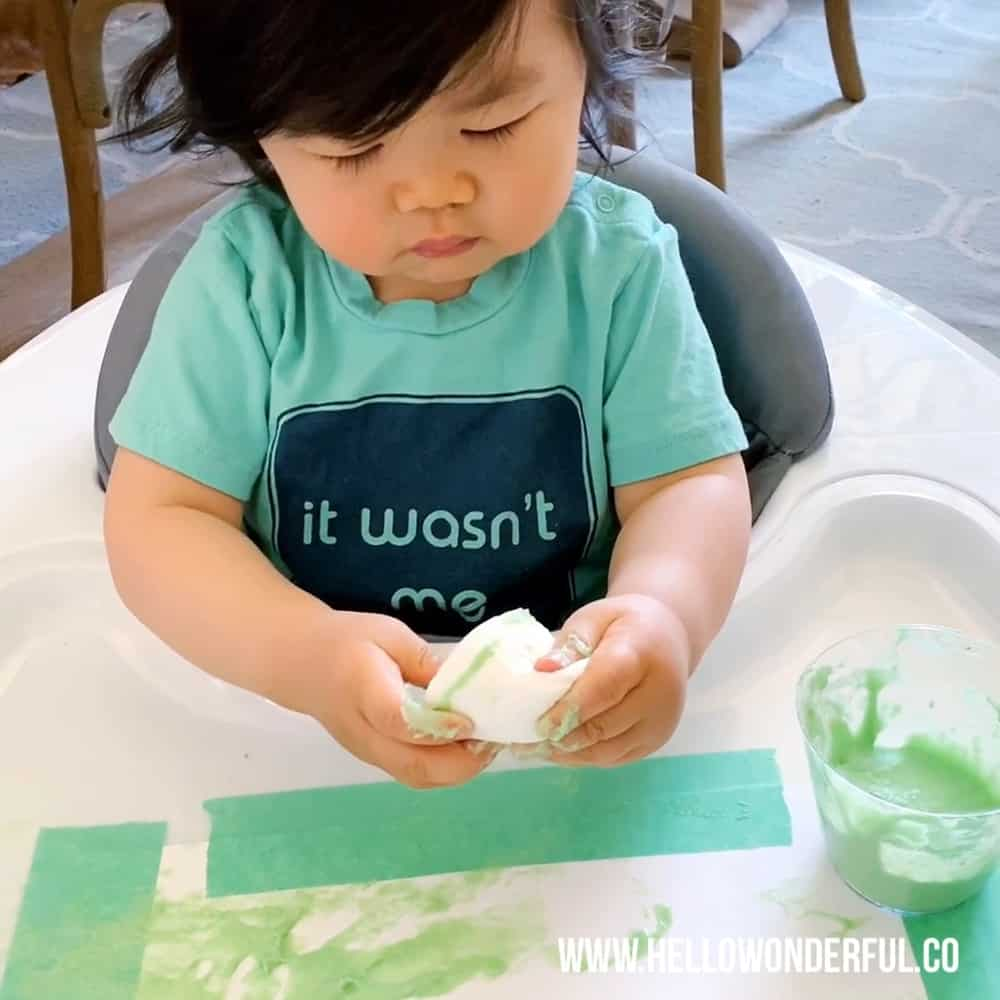 Set up this easy marshmallow stamping with taste safe edible paint. A fun baby or toddler painting activity.