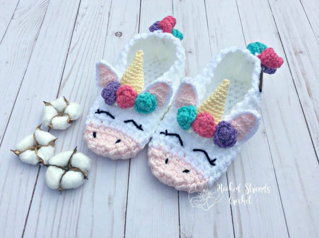 Unicorn crochet slippers