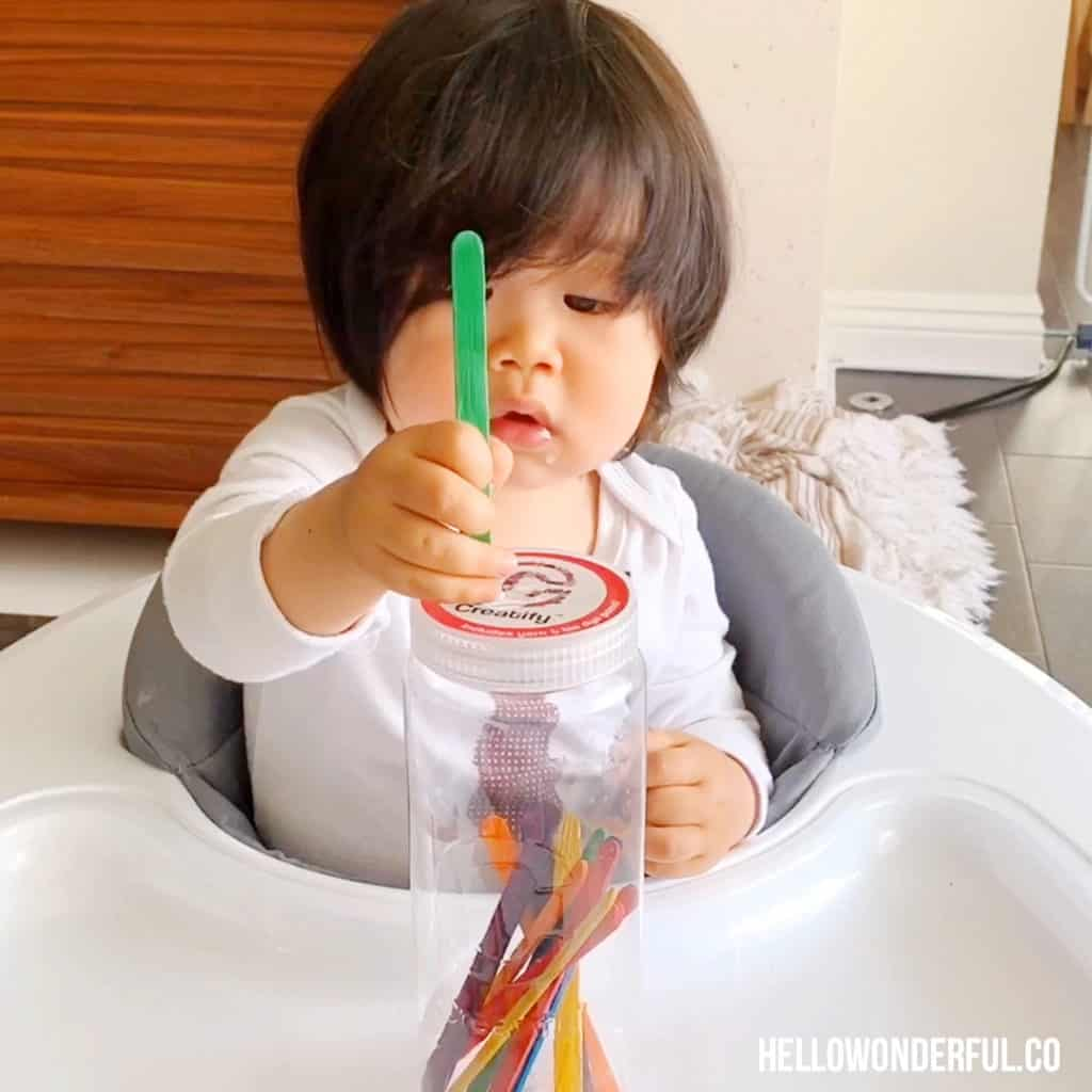 Craft Stick Fine Motor Skills Activity For Babies and Toddlers