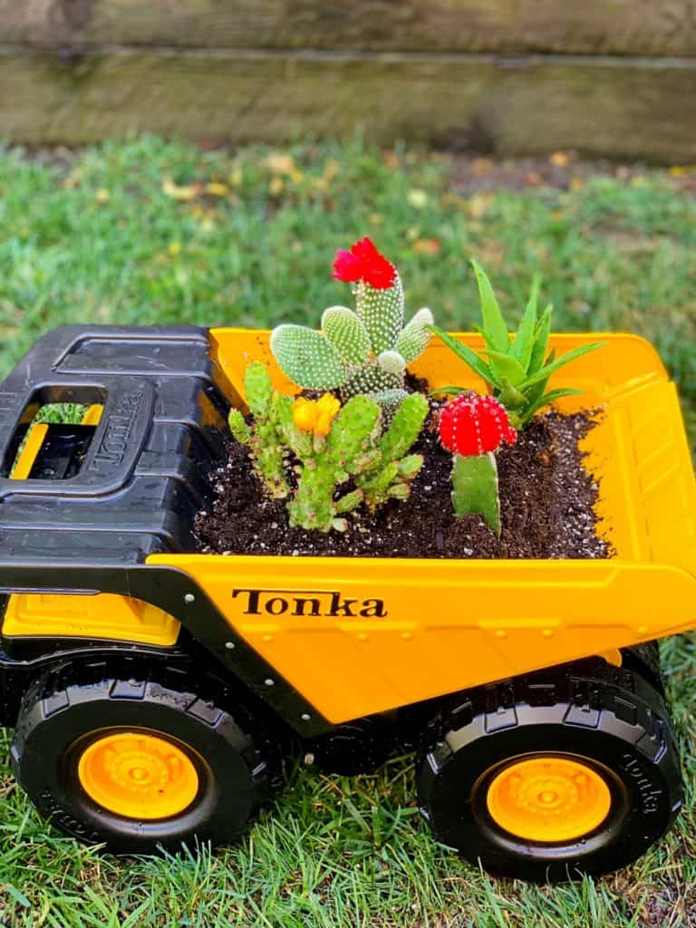 recycle toy trucks into planters
