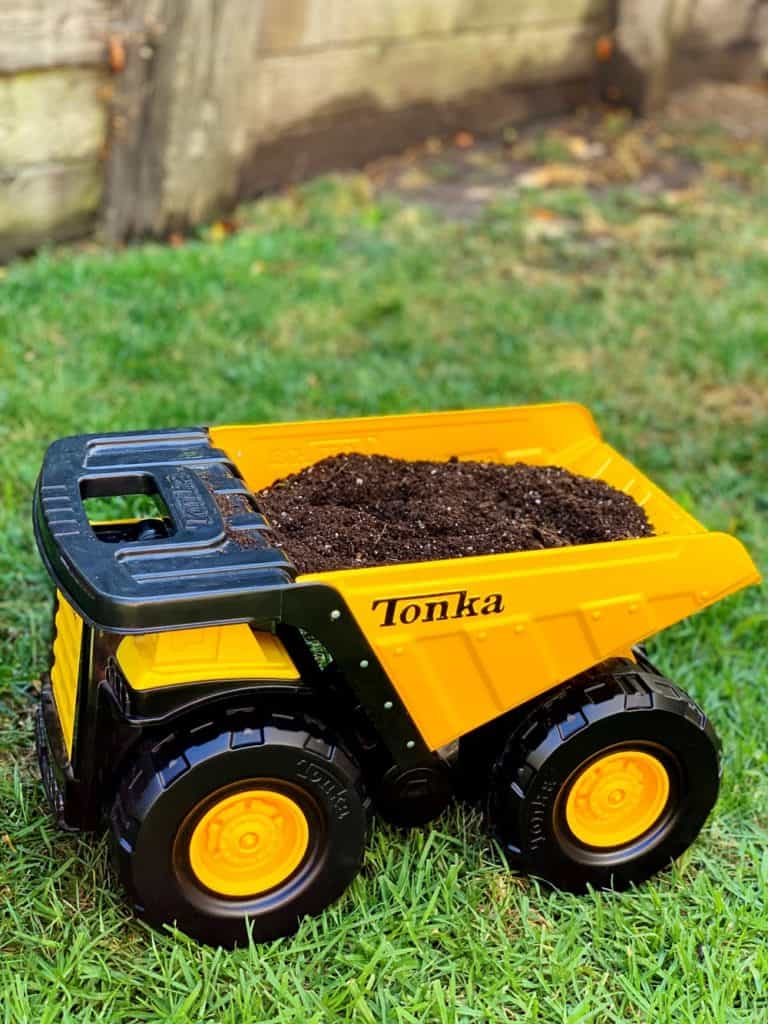 Tonka Toy Truck filled with soil