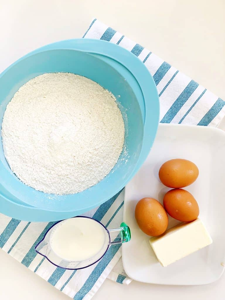 flour eggs butter and milk for vanilla cupcakes