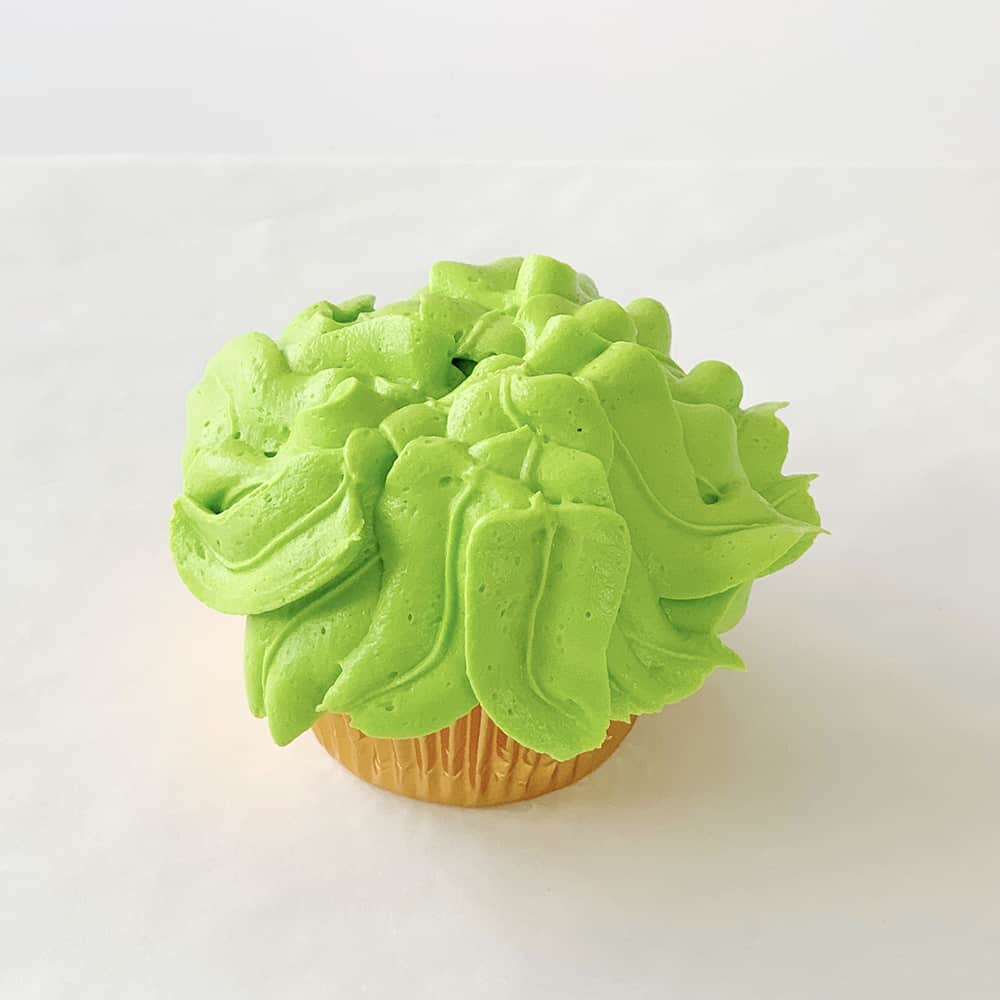 green vanilla buttercream frosting on cupcake with jungle leaves