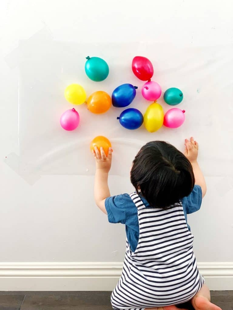 Balloon Sticky Wall Sensory Activity Babies and Toddlers
