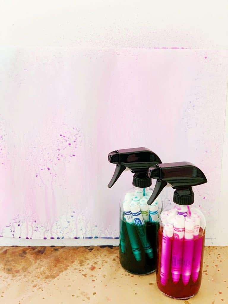 watercolor paint art using recycled markers