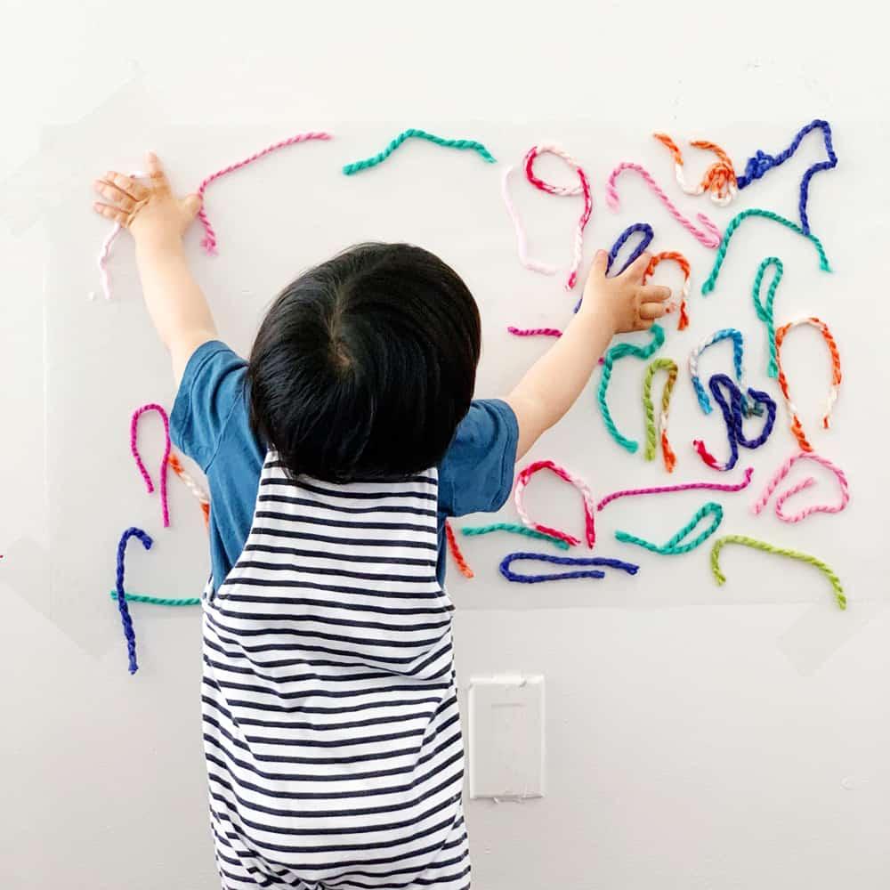 yarn sticky wall sensory activity