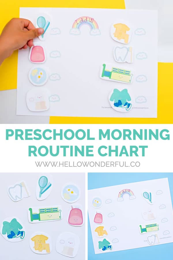 Download a free printable preschool morning routine chart