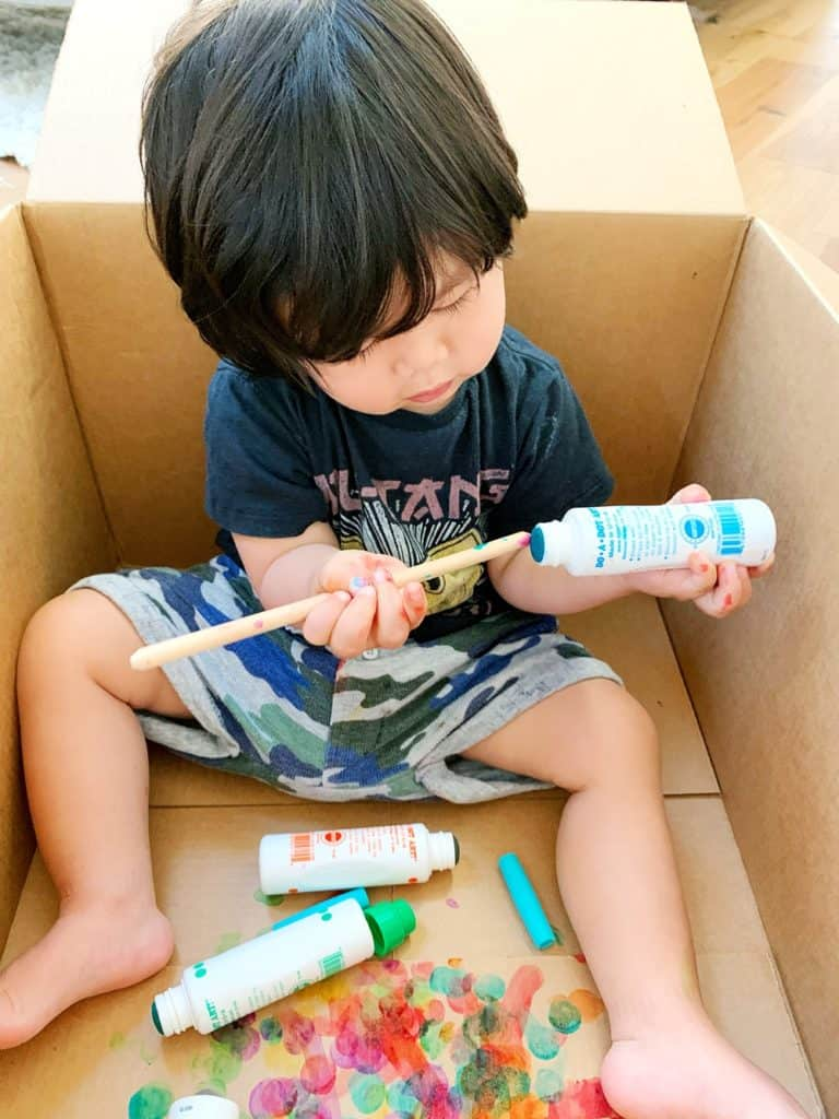 Baby Toddler Painting in a Cardboard Box with dot markers