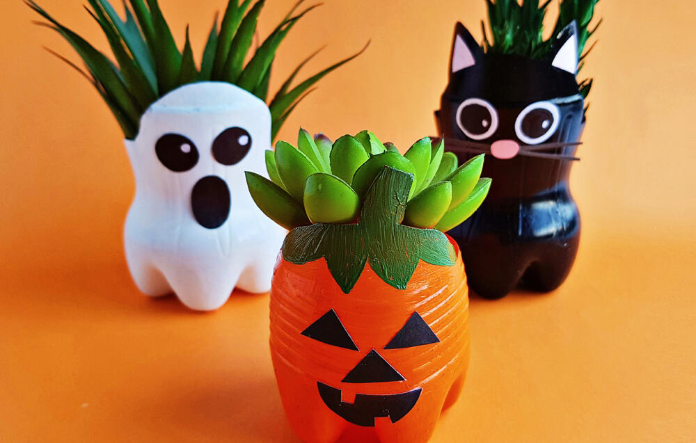 Halloween Recycled Bottle Planters Craft