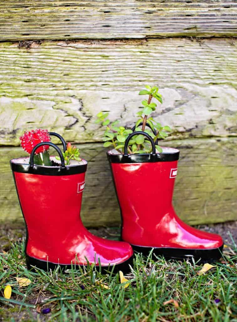 diy rain boot planters - planting with kids
