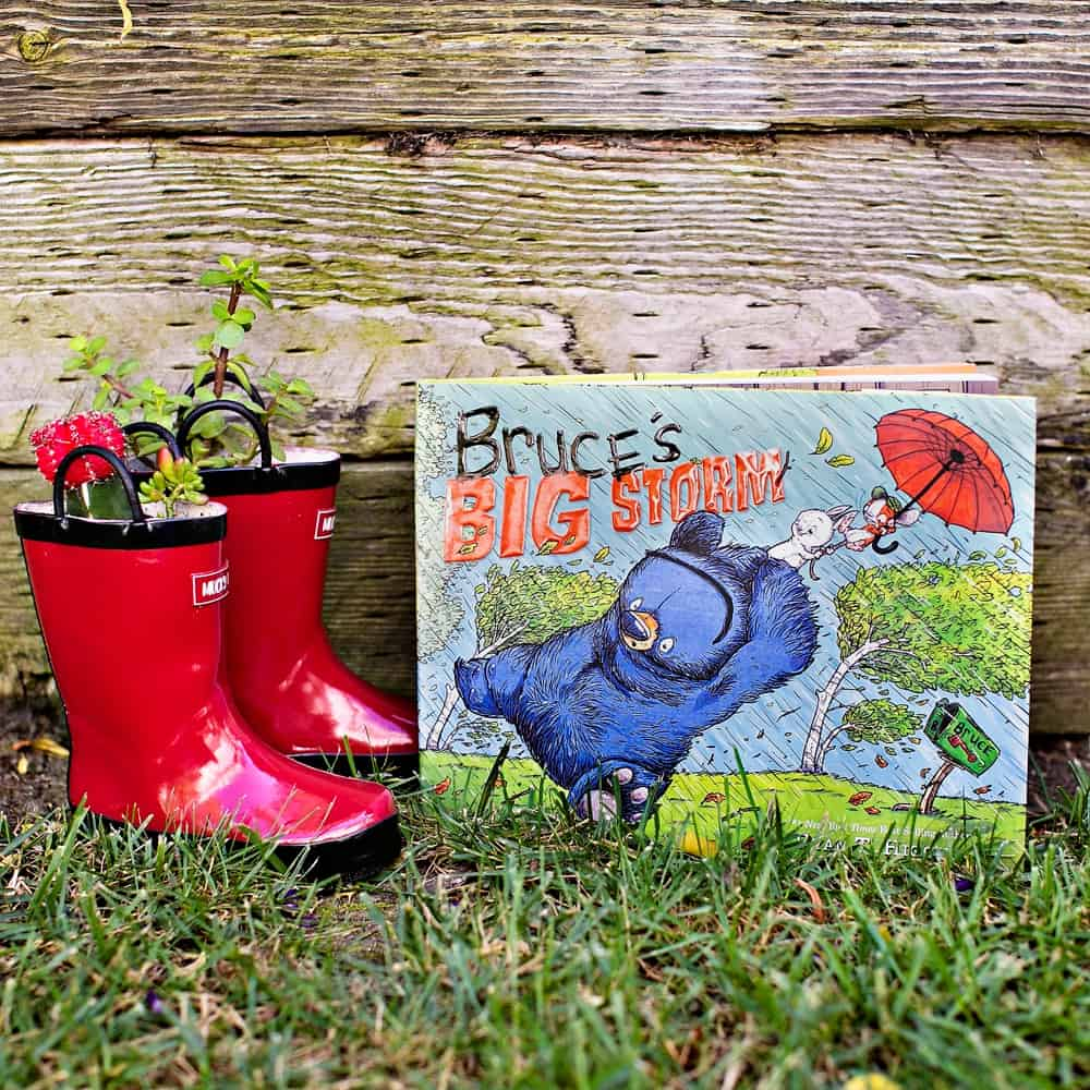 diy rain boot planters - planting with kids inspired by Bruce's Big Storm Book