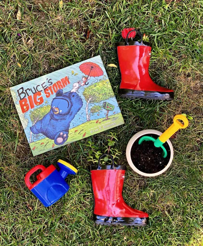 DIY Rain Boot Planters inspired by Bruce's Big Storm Book - planting with kids