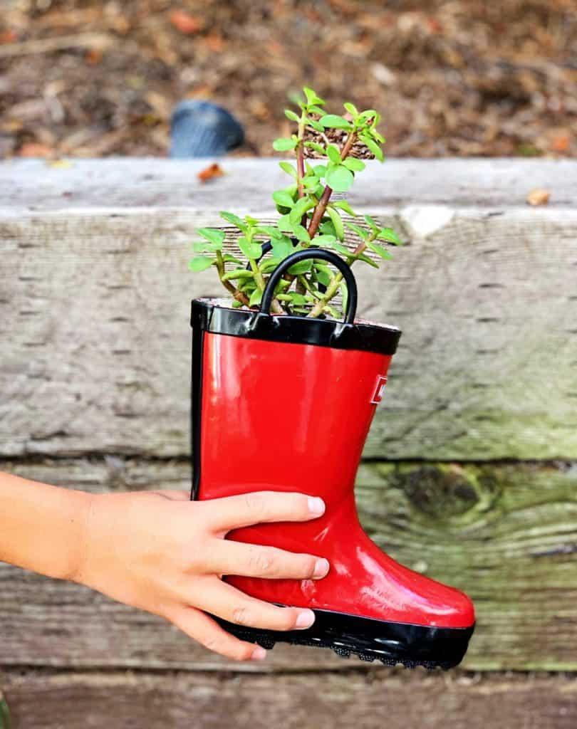 DIY Rain Boot Planters