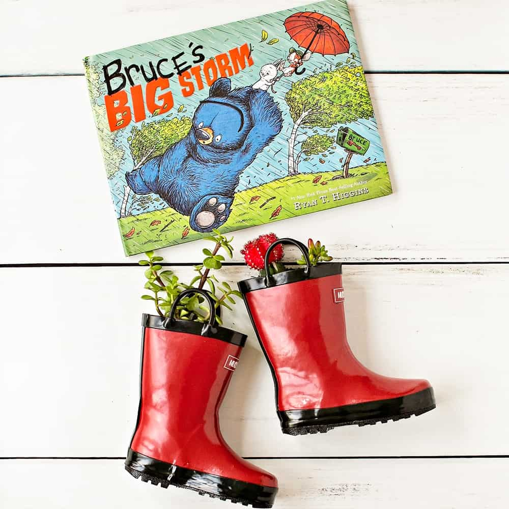 DIY Rain Boot Planters inspired by Bruce's Big Storm Book