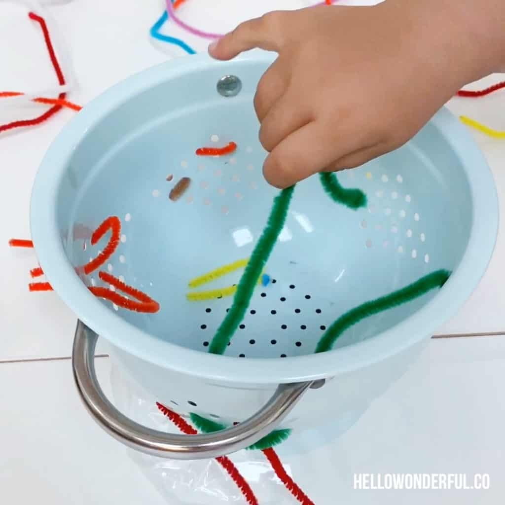 Pipe Cleaner Fine Motor Skills Activity for Toddlers