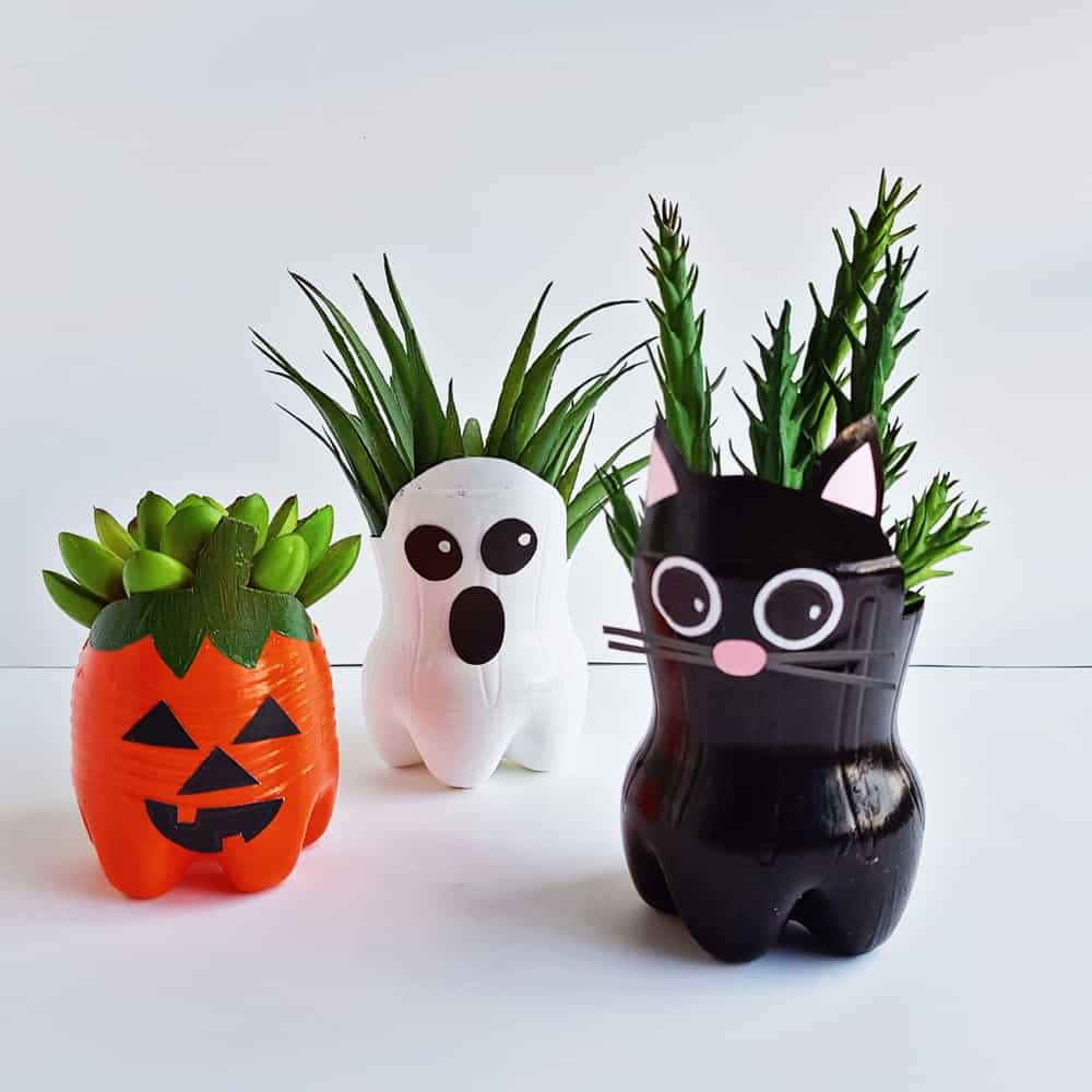 Halloween Recycled Bottle Planters
