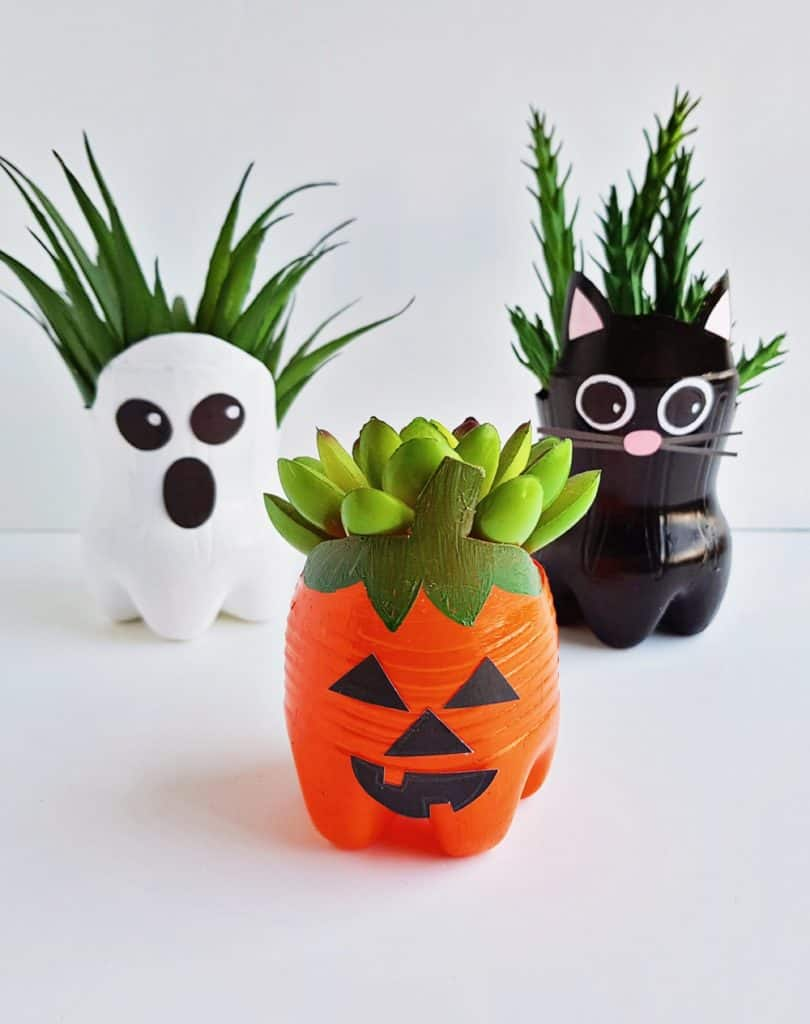 Halloween Recycled Bottle Planters Craft For Kids