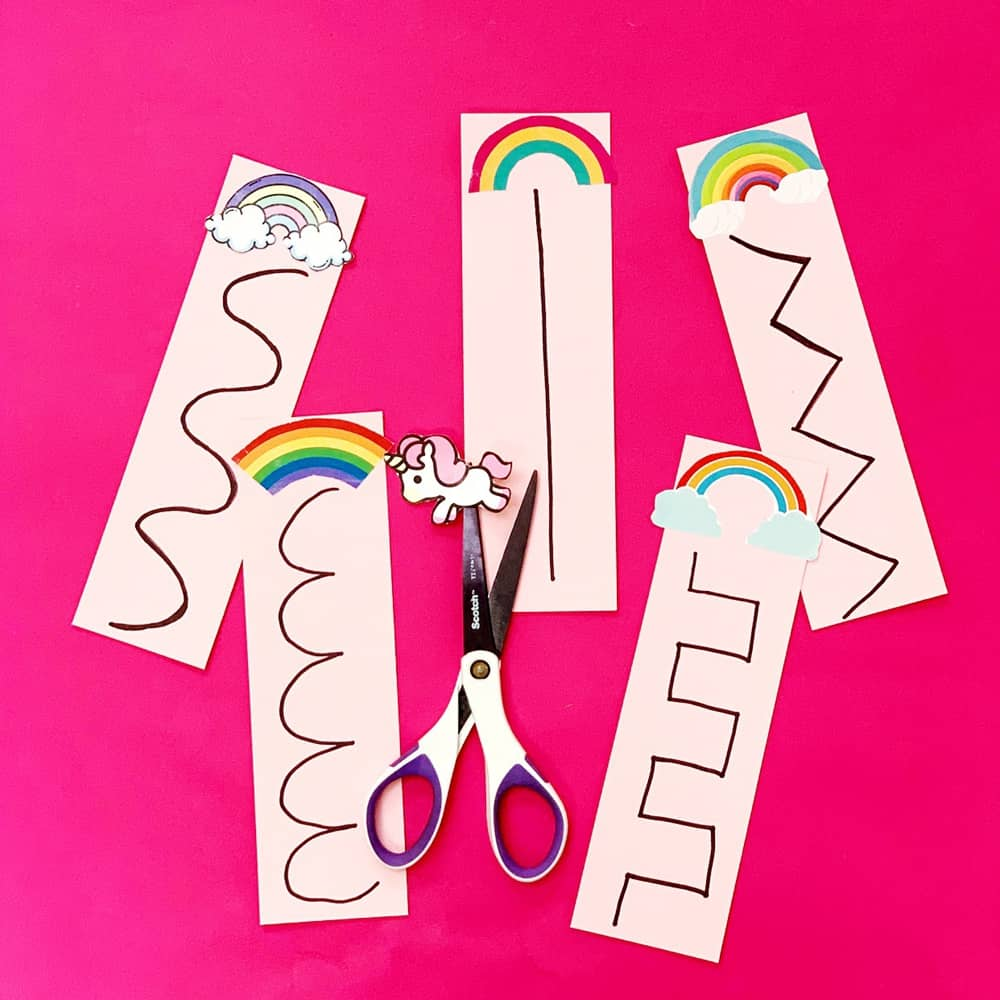 Unicorn Rainbow Scissor Cutting Activity for Kids with free template