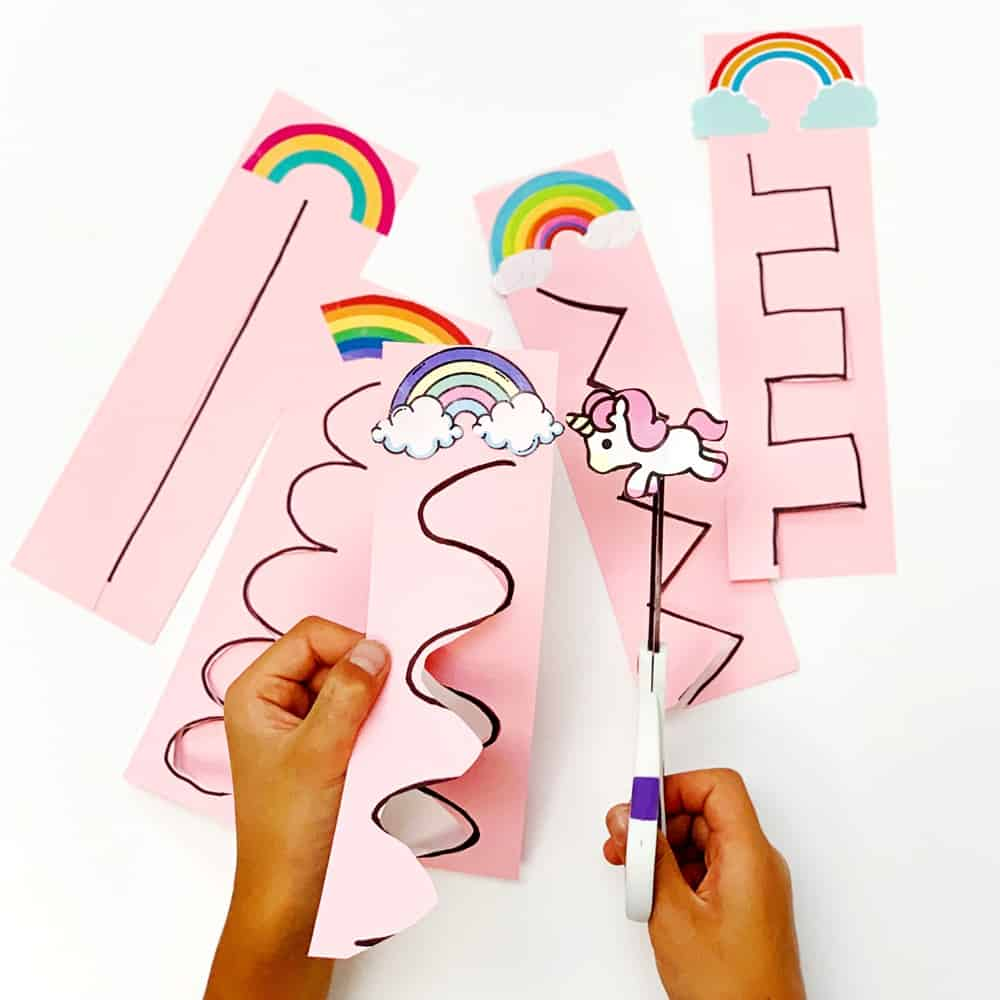 Unicorn Rainbow Scissor Cutting Activity for Kids
