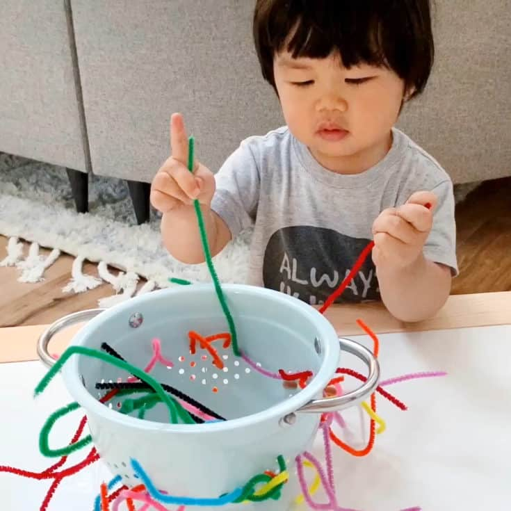 COLANDER PIPE CLEANER FINE MOTOR SKILLS ACTIVITY FOR