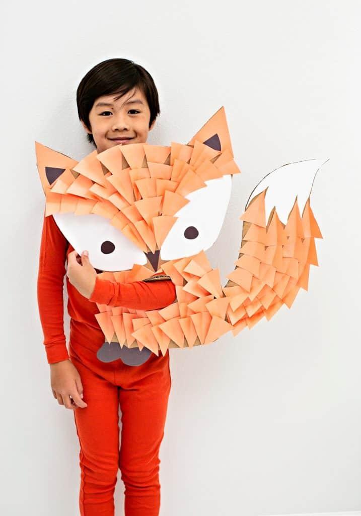 DIY Cardboard Fox Costume For Kids