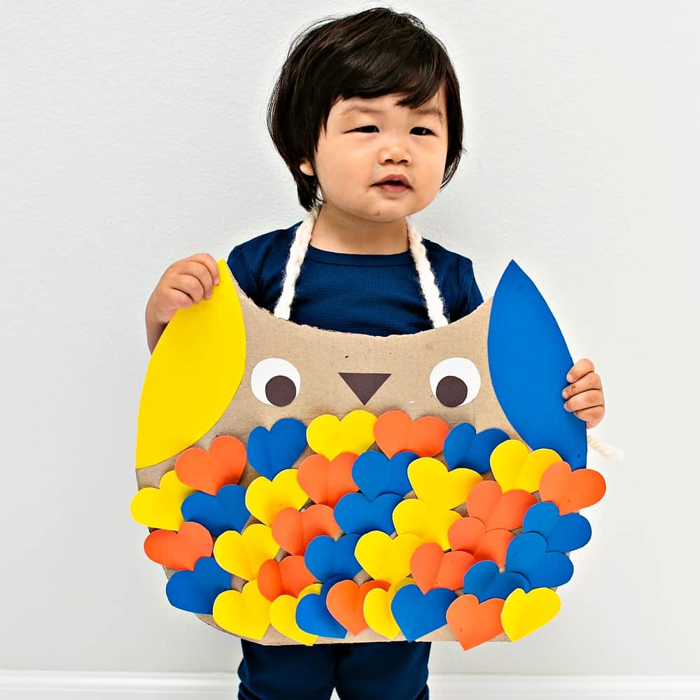 DIY Cardboard Owl Costume for kids