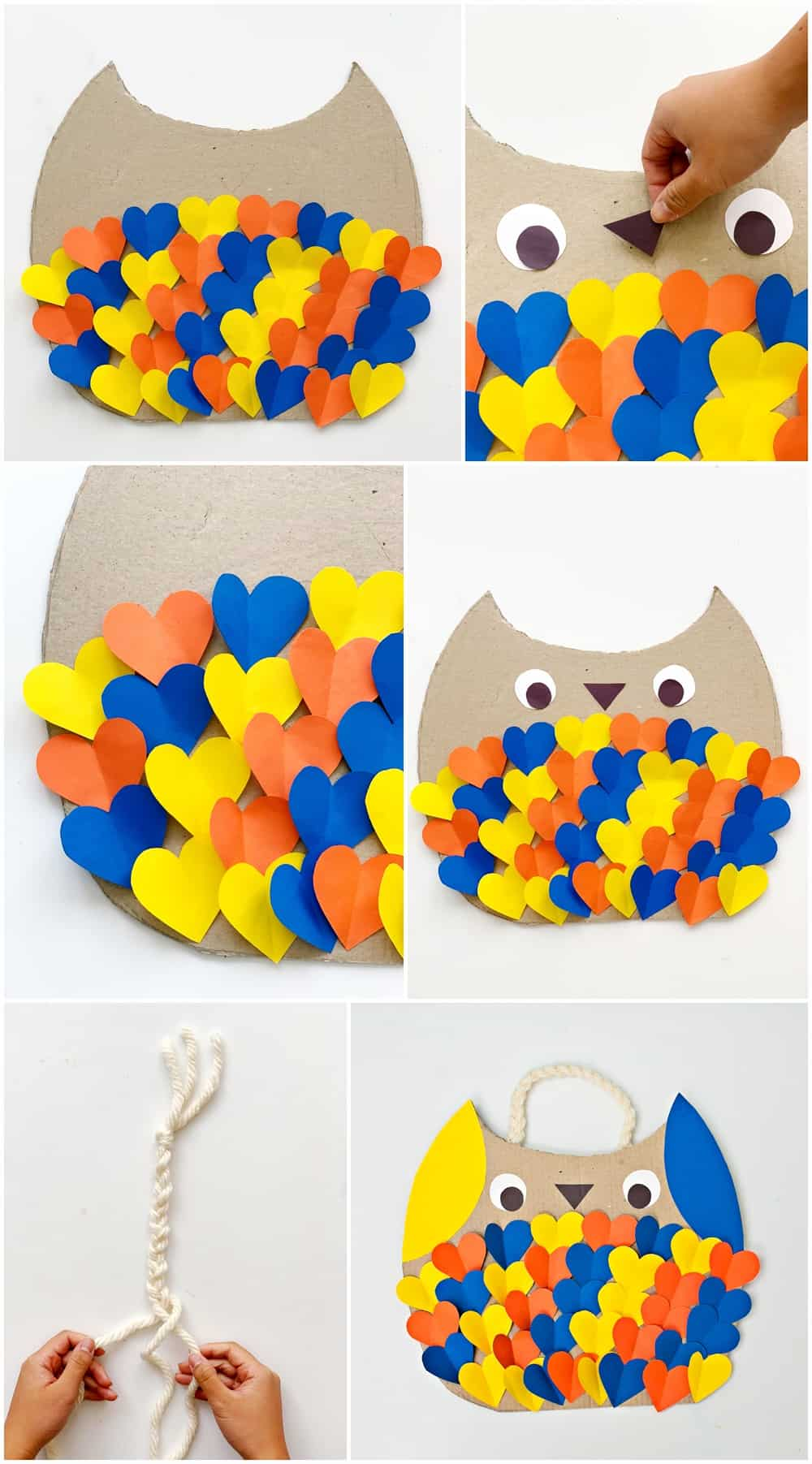 DIY Cardboard Owl Costume for kids process