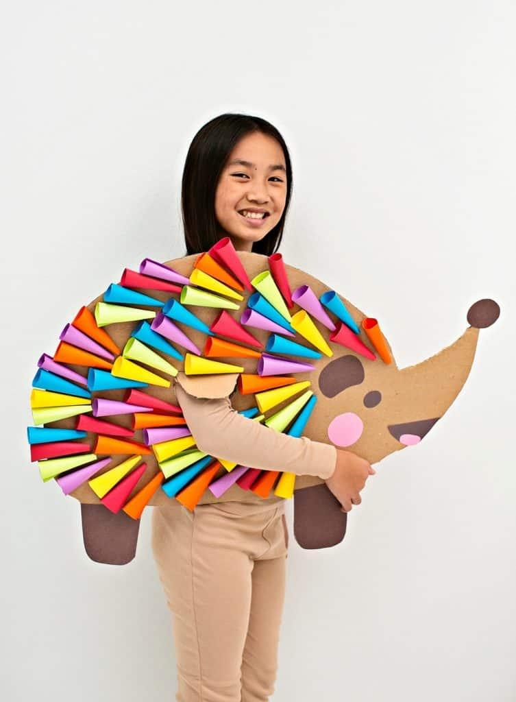 DIY Cardboard Rainbow Hedgehog Costume For Kids