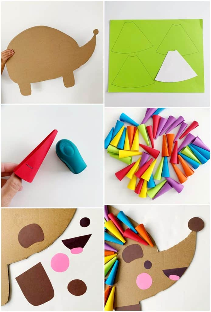 DIY Cardboard Rainbow Hedgehog Costume For Kids - process