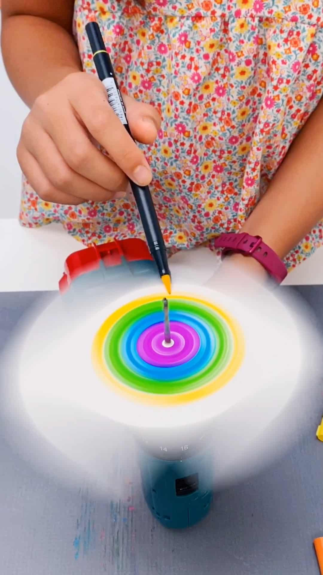 drill spin art with kids