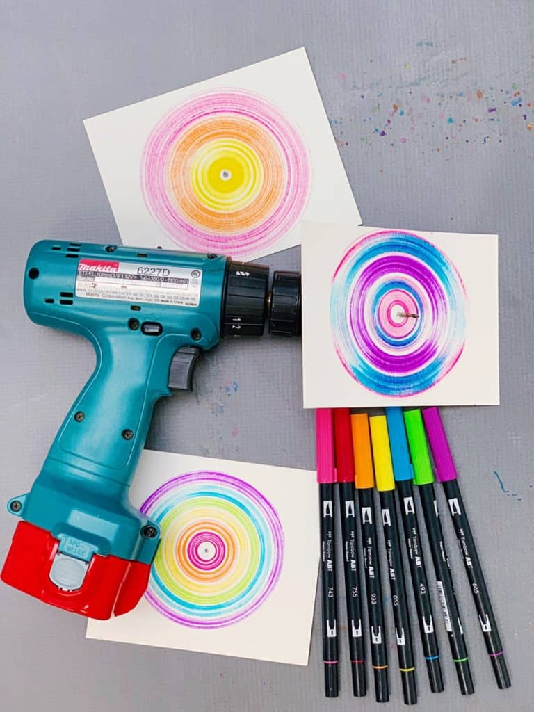 drill spin art with kids - such a neat colorful effect!