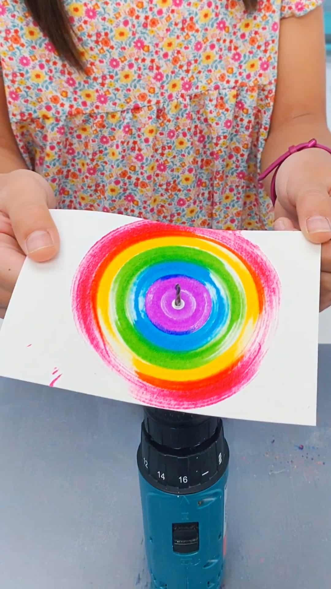 electric drill spin art with kids