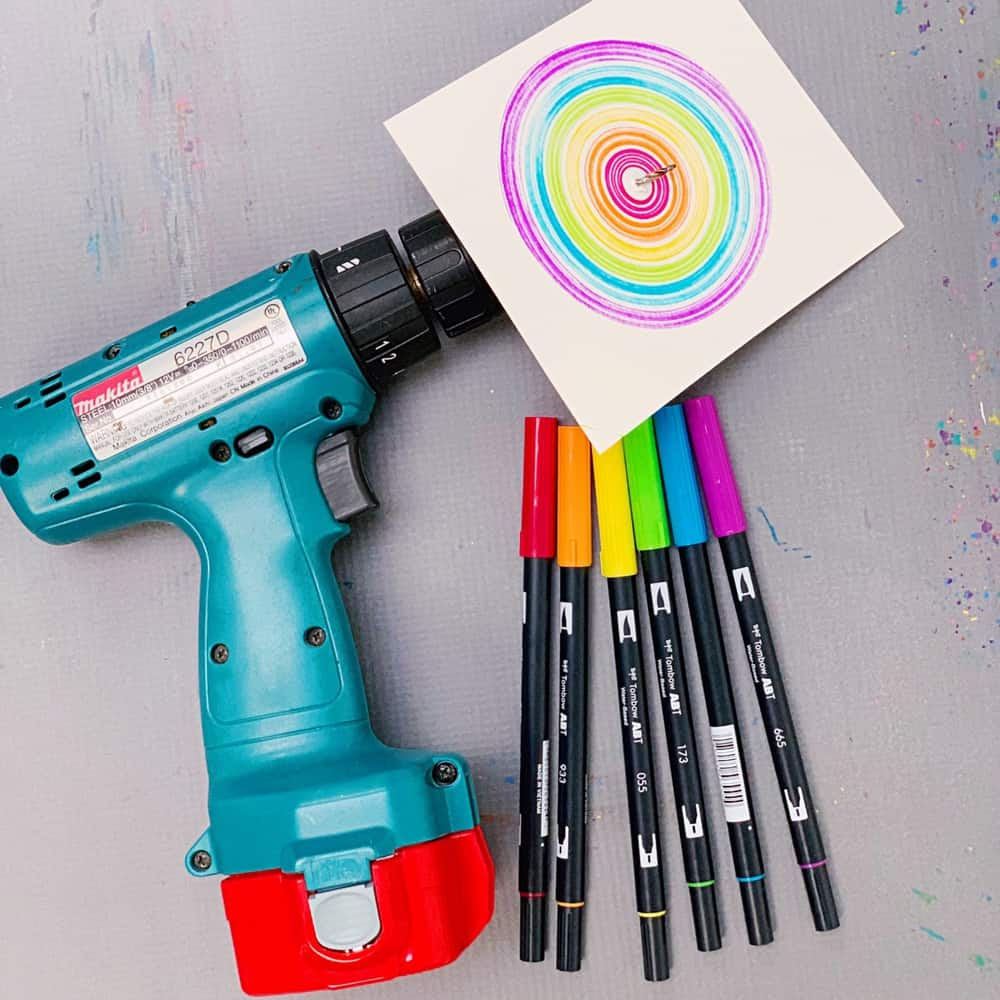 drill spin art with kids - easy action art