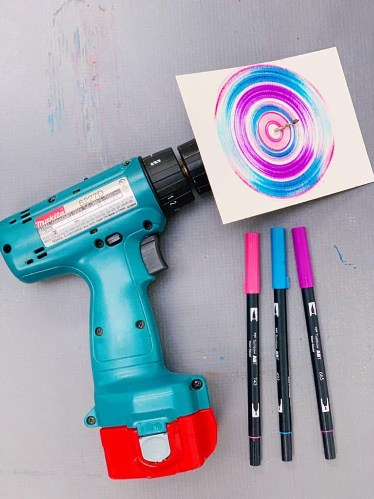 drill spin art with kids - action art