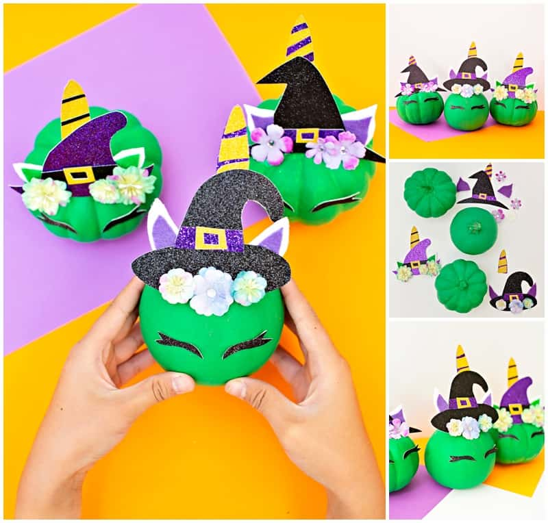 diy pumpkin unicorn witch collage