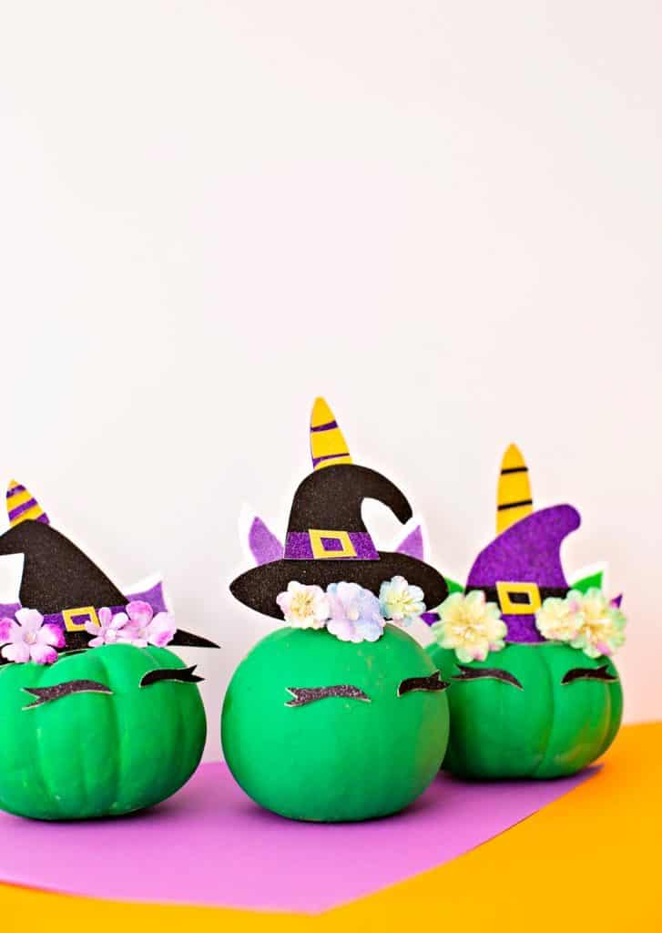 DIY Pumpkin Unicorn Witch - no carve pumpkin decorating idea