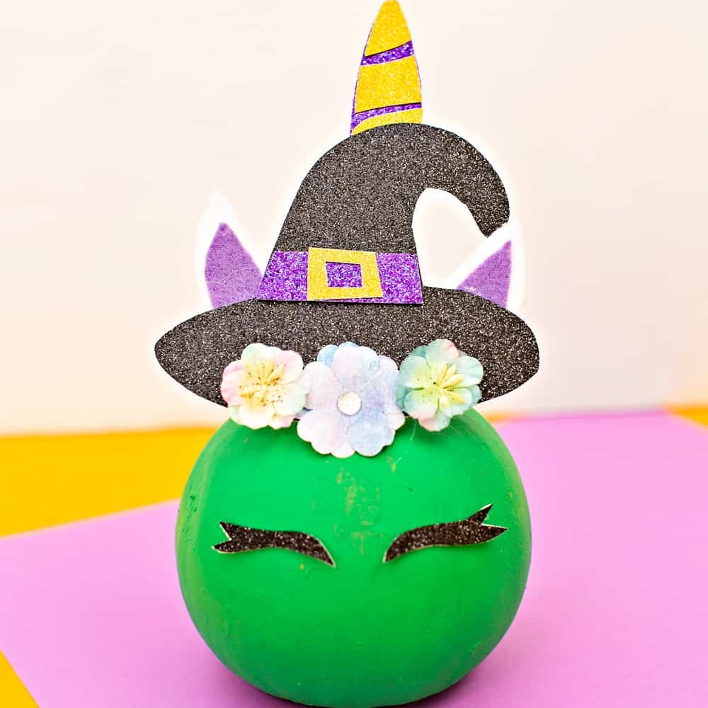DIY Pumpkin Unicorn Witch - no carve pumpkin decorating idea. Unicorn craft for kids.