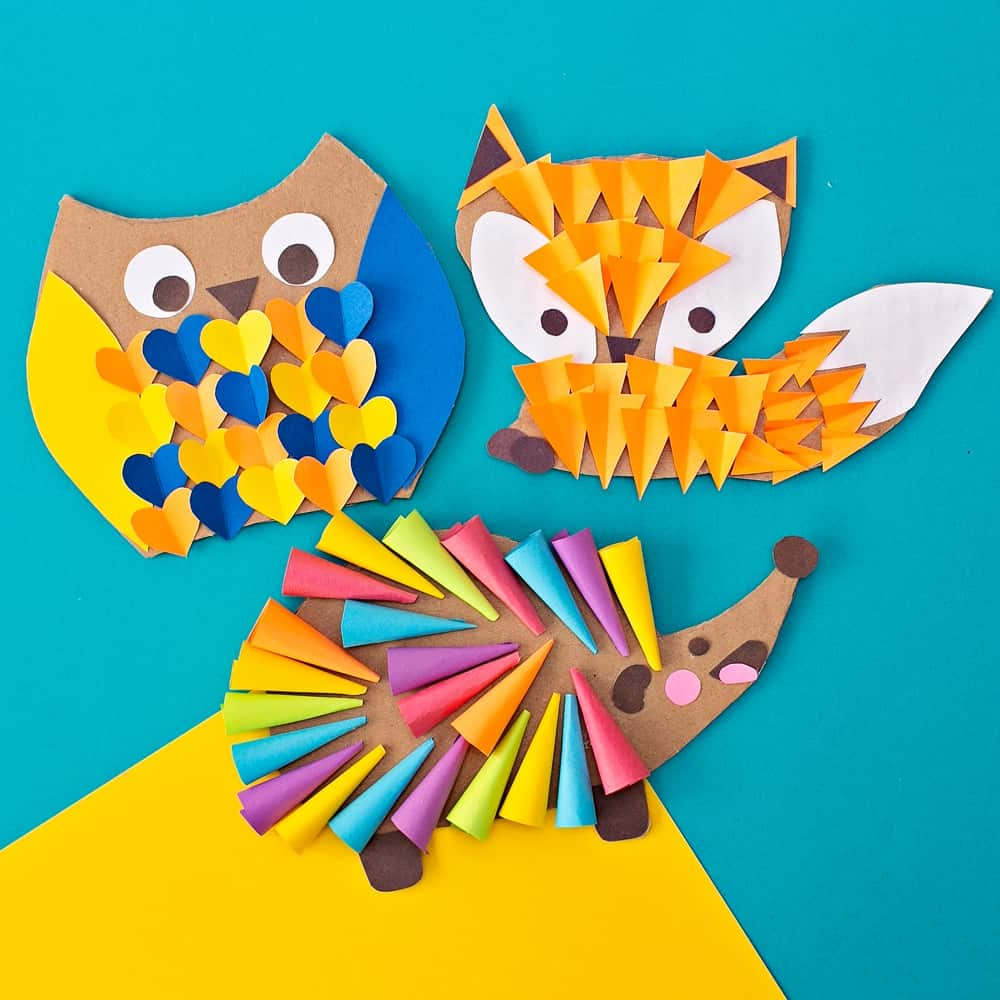CARDBOARD OWL FOX HEDGEHOG WOODLAND ANIMAL CRAFT