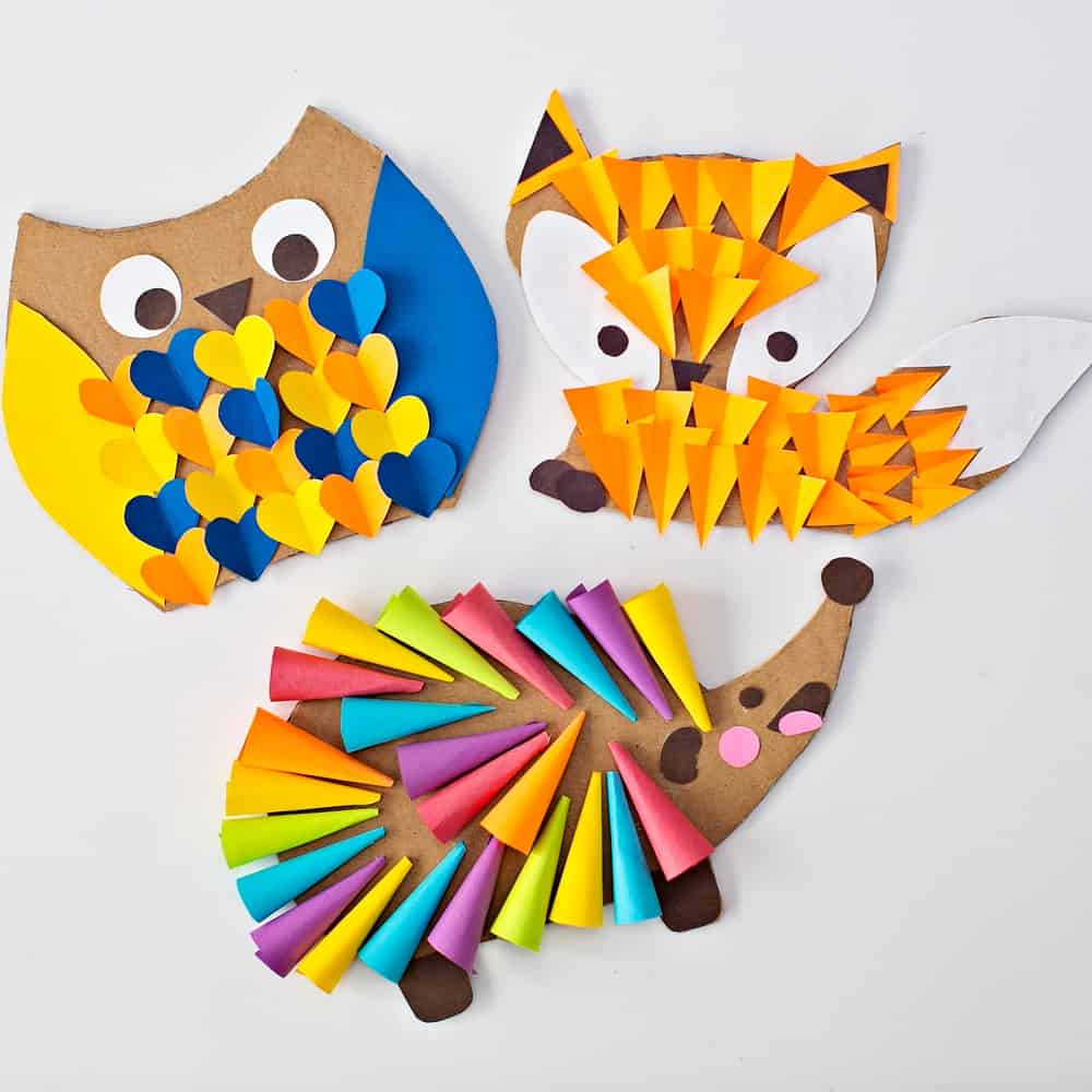 CARDBOARD OWL FOX HEDGEHOG WOODLAND ANIMAL CRAFT for kids